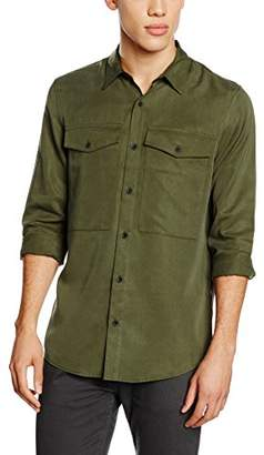 New Look Men's Silk Double Pocket Casual Shirts,X-Large