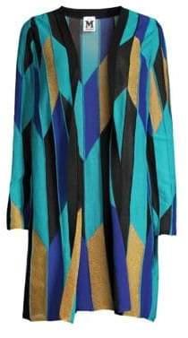 M Missoni Women's Geo Print Open Front Cardigan - Blue - Size 48 (12)