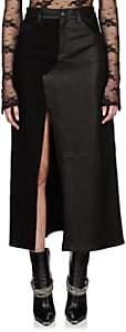 Amiri Women's Denim & Leather Long Skirt - Black