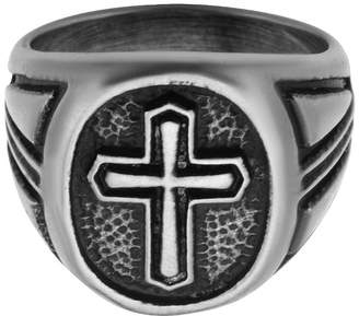 FINE JEWELRY Inox Jewelry Mens Stainless Steel Antique-Look Cross Ring