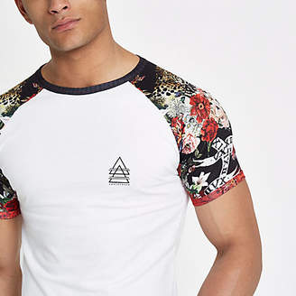 River Island White leopard muscle fit raglan T-shirt