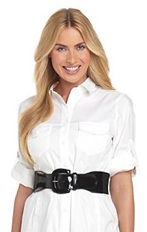 Lauren Ralph Lauren Stretch Patent Tab Belt - Black