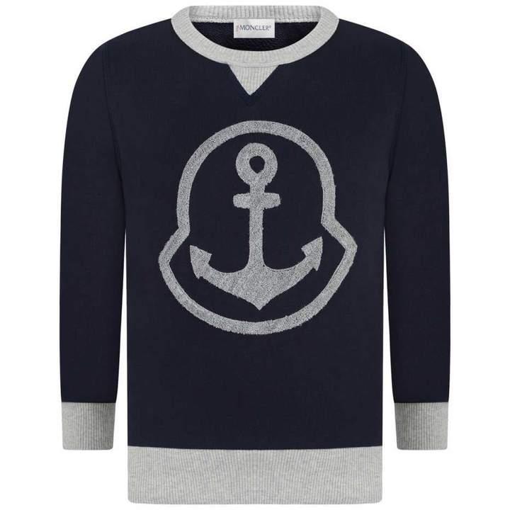 MonclerBoys Navy & Grey Anchor Sweater