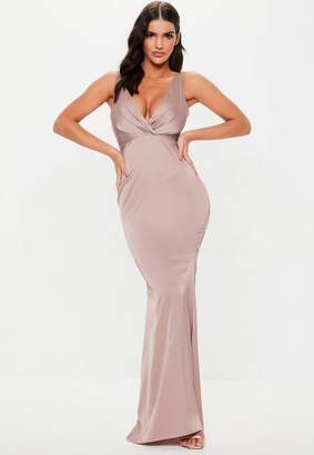 7548964f43 Missguided Bridesmaid Mauve Satin V Plunge Maxi Dress