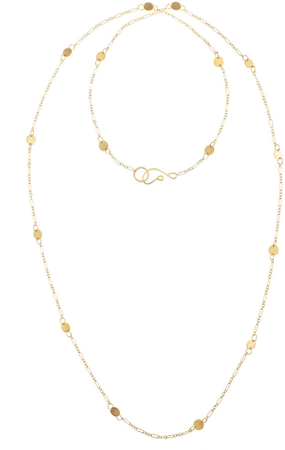 Long Disc Necklace Gold