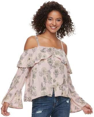 American Rag Juniors' Floral Cold-Shoulder Top