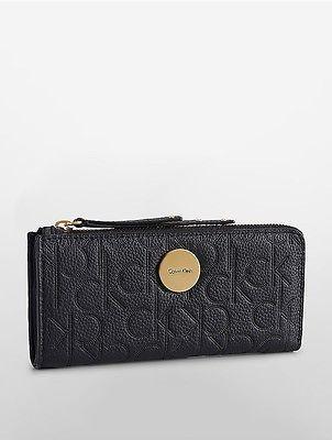 Calvin KleinCalvin Klein Womens Abby Half Zip Continental Wallet Black