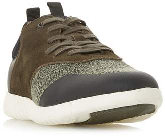 Dune Khaki 'Turan' Textured Lace Up Trainers