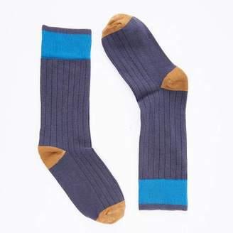 Blade + Blue Solid Deep Indigo with Camel & Aqua Tipping Socks