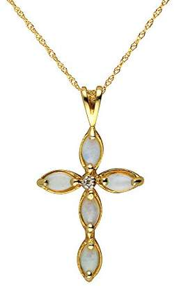 Ivy Gems 9ct Yellow Gold Opal and Diamond Cross Pendant with 46cm Prince of Wales Chain