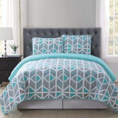 Truly Soft Malene Twin/Twin XL Quilt Mini Set in Grey/Aqua