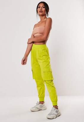 Missguided Yellow Loopback Cargo Joggers