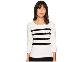 CeCe Long Sleeve Striped Pullover Sweater w/ Bows Women's Sweater