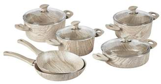 6 Piece Wooden Style Cookware Set