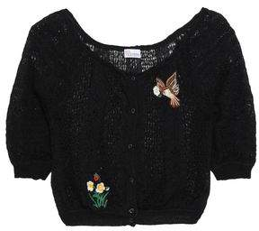 RED Valentino Embroidered Pointelle-knit Cardigan