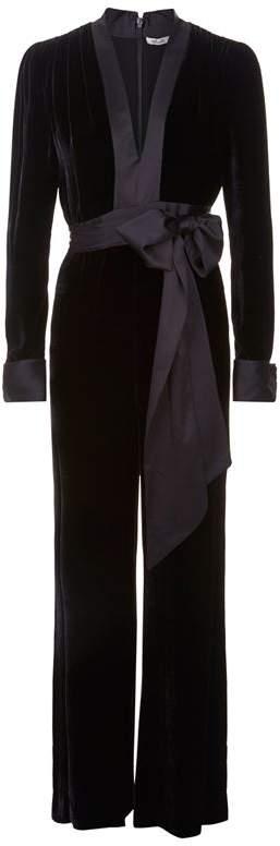 Wide Leg Velvet Jumpsuit