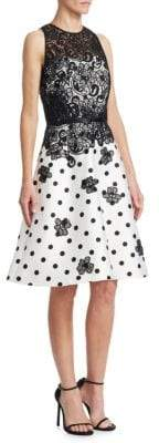 Theia Floral Polka Dot Dress