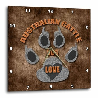 Breed 3dRose Australian Cattle Dog Love Dog in Gray and Brown, Wall Clock, 13 by 13-inch