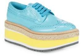Prada Leather Flatform Oxford Espadrilles