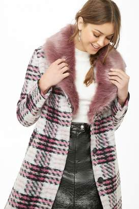 Forever 21 Plaid Brushed Felt Coat