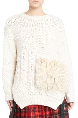 Simone Rocha Faux Fur Trimmed Cabled Sweater