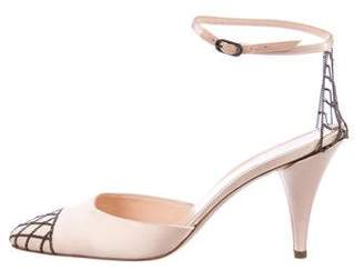 Chanel Satin Ankle Strap Pumps
