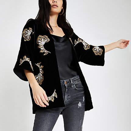 Womens Black velvet embroidered kimono