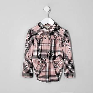 River Island Mini girls pink check 'L'amour' swing shirt