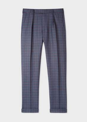 Paul Smith Men's Tapered-Fit Navy Plaid Wool Trousers