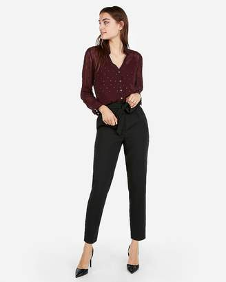 Express Petite Slim Dotted Sheer Portofino Shirt