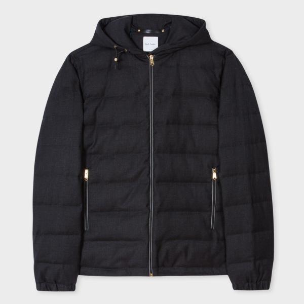 Paul SmithMen's Charcoal Grey Wool-Twill Zip-Front Hooded Travel Jacket