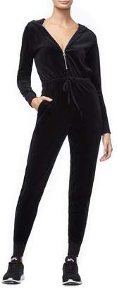 Good American The Velour Hooded Jumpsuit