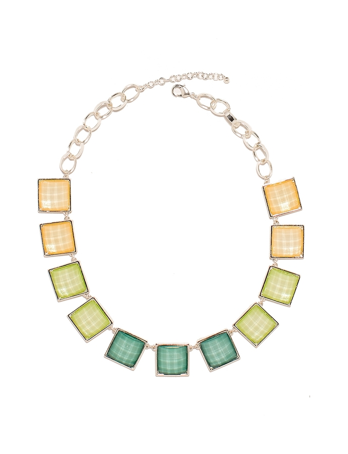 The Limited Faceted Squares Statement Necklace