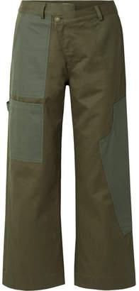 Monse Cotton-drill Wide-leg Pants - Army green