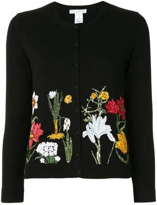 Oscar de la Renta Flower harvest embroidered cardigan