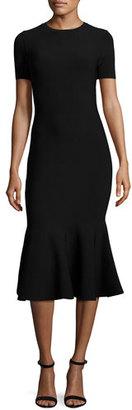 Milly Short-Sleeve Mermaid Midi Dress, Black $475 thestylecure.com
