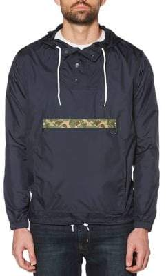 Original Penguin Camo-Trim Pullover Rain Jacket