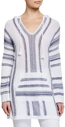 Tommy Bahama Baja Striped V-Neck Hooded Sweater