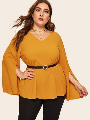 bf80225945 Shein Plus Split Bell Sleeve Tunic Top