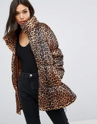 PrettyLittleThing Leopard Print Padded Jacket