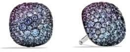 David Yurman Pave Earrings With Black Diamonds In 18K White Gold