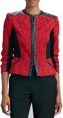 Magaschoni Textured Jacquard Leather-Trim Jacket $298 thestylecure.com