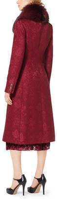 Michael Kors Damask Jacquard Fox-Collar Coat