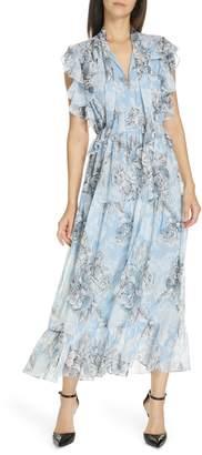 Robert Rodriguez Clara Ruffle Cotton & Silk Midi Dress
