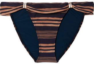 Vix Isabela Bia Striped Bikini Briefs - Navy