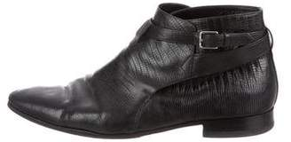 Saint Laurent Embossed Leather Ankle Boots
