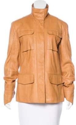 Bottega Veneta Python Zip-Front Jacket