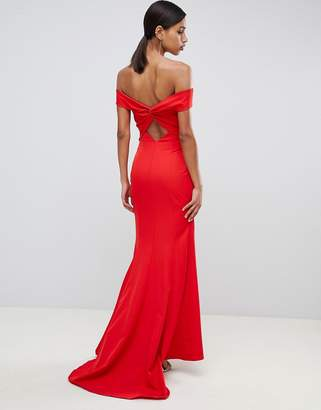Jarlo cross front and back bardot maxi dress in red