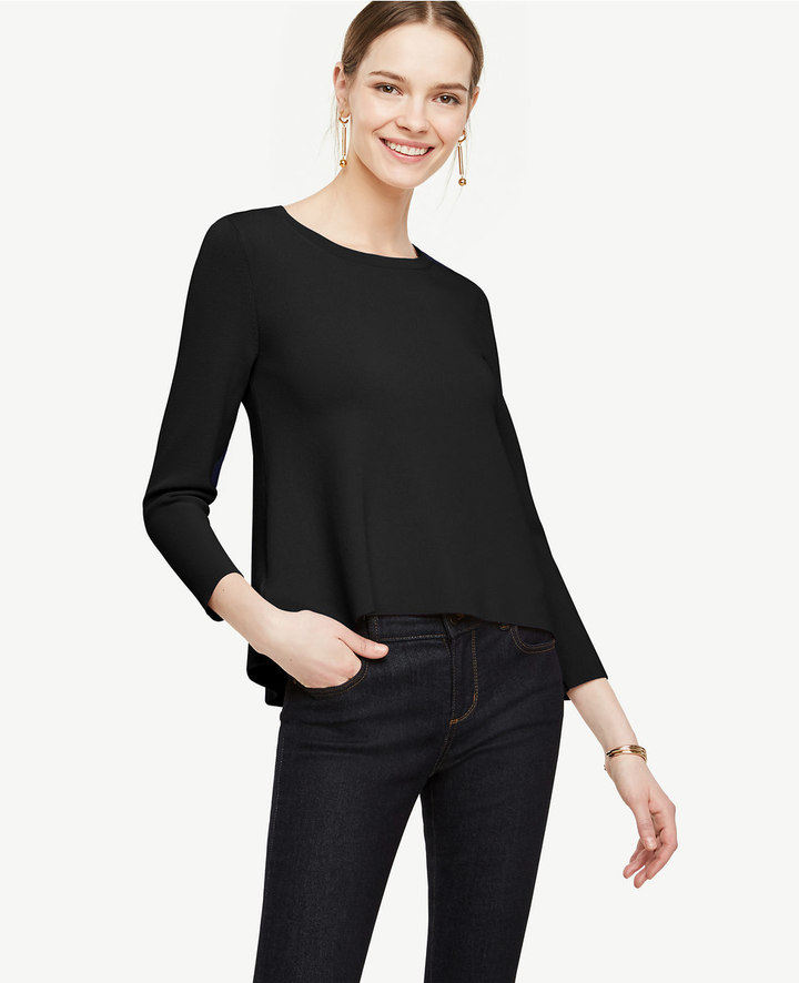 Ann Taylor Petite Back Peplum Mixed Media Sweater
