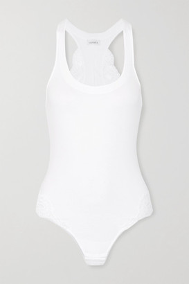 La Perla Souple Lace-trimmed Stretch Cotton-blend Jersey Bodysuit - White